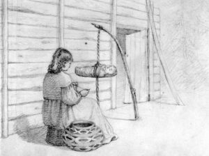 Pencil drawing of a First Nations woman knitting. In front of her there is a baby in a carrier that is suspended from a rope a short distance above the ground.