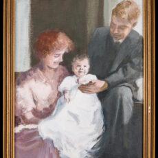 Tableau peint à l'huile représentant d'heureux parents tenant leur bébé, dans une pièce ensoleillée.