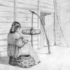 Un dessin à la mine d'une femme autochtone qui tricote. Devant elle, le porte-bébé où dort son bébé est suspendu par une corde près du sol.
