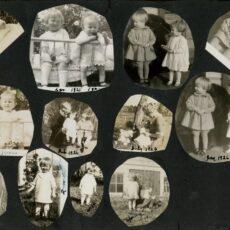 Une page d'un album de photos en noir et blanc, avec douze photos de deux jeunes enfants, un garçon et une fille, adoptant différentes poses. Certaines de ces photos sont datées du milieu des années 1920.