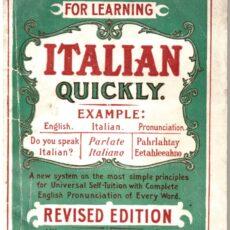 Un livre pour apprendre l'italien, appartenant à la belle-famille des Bossi. Lorsque tu entres dans une famille, tu adoptes leur histoire — et aussi parfois leur langue. Des livres comme celui-ci peuvent t'aider à t'ajuster à ta nouvelle situation et parfois même à transmettre les traditions à la génération suivante.