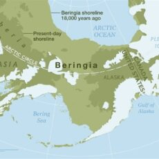 Map showing the land mass Beringia, which no longer exists.