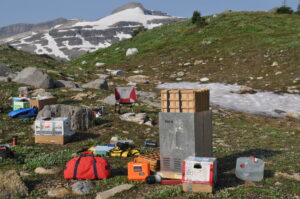 Camping and field work equipment are spread out on the ground in an alpine area. There is a snowy mountain in the distance.