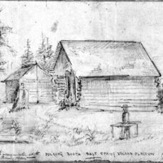 This pencil sketch shows two simple log buildings surrounded by trees and three people standing outside. One person is standing at a table set up in the grass.
