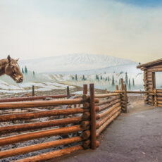 Behind a wood fence is a brown horse standing next to a piece of machinery. In the background is a wood cabin and a hilly winter scene..