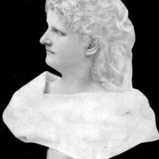 Black-and-white image of Hannah Maynard as a statue bust.