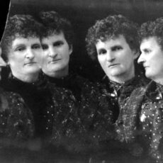 Black-and-white image of five Hannah Maynards looking in different directions.