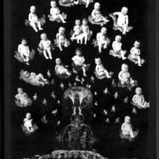 Black-and-white image of a fountain surrounded by floating babies on hand painted clouds.