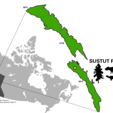 Map of Canada with two areas in northern BC enlarged.