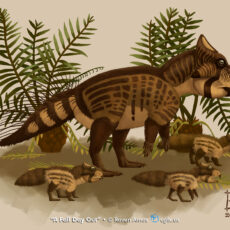 A colour illustration of one large striped and spotted dinosaur with a parrot-like beak, and three similarly coloured but fluffy and tiny dinosaurs at its feet. Palm-like plants are in the background.