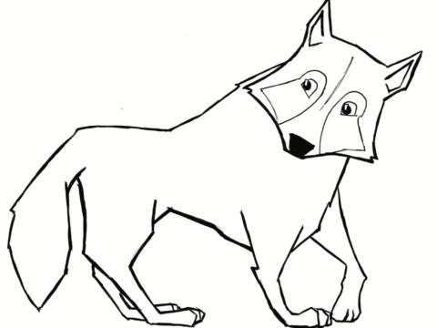 Gray Wolf Colouring Sheet