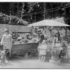 Three girls and one boy stand in the Japanese Gardens and look at the plant display. There are outdoor seating areas and trees in the background.