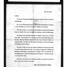 A typed letter to the Nisei from the Nisei Mass Evacuation Group, dated April 17, 1942.