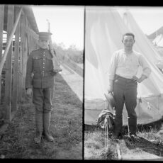 Two photographs of soldiers at Sidney Camp. One soldier stands in front of the outdoor dining hall with his rifle and the second Japanese soldier stands in front of the canvas tent.