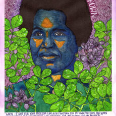 Painting of Rosemary Brown, with leaves and flowers around her.