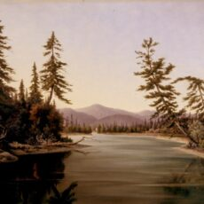 Painting of a waterway and landscape.